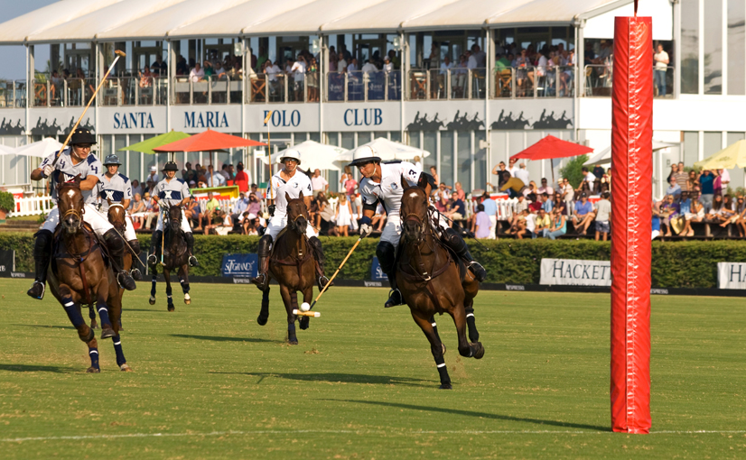 BDED4R Polo player with ball on the end of stick heading for the goal, Santa Maria Polo Club,Sotogrande, Cadiz, Andalucia, Spain